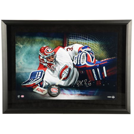 Patrick Roy Montreal Canadiens Framed Autographed 16   X 20   Save Breakthrough Photograph   Upper Deck