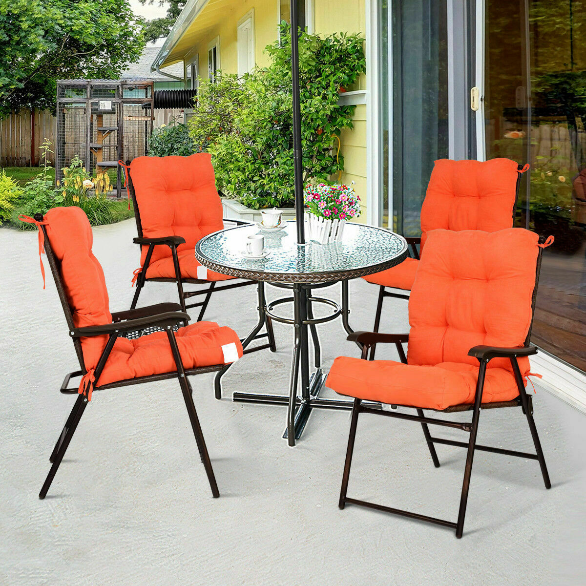 """42/""""Seat//Back Chair Cushion Tufted Pillow Indoor Outdoor Swing Glider Seat Orange"""