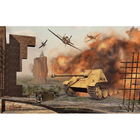 American P-47 fighter planes attacking German Jagdpanther tanks during World War II Poster