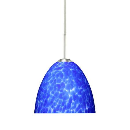 Besa Lighting 1BT-757286-LED Sasha II 1-Light LED Cord-Hung Mini Pendant with Blue Cloud Glass Shade Clouds 3 Light Mini