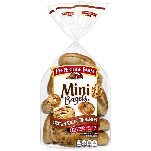 Pepperidge Farm Mini Brown Sugar Cinnamon Bagels, 17 oz. Bag, 12-pack
