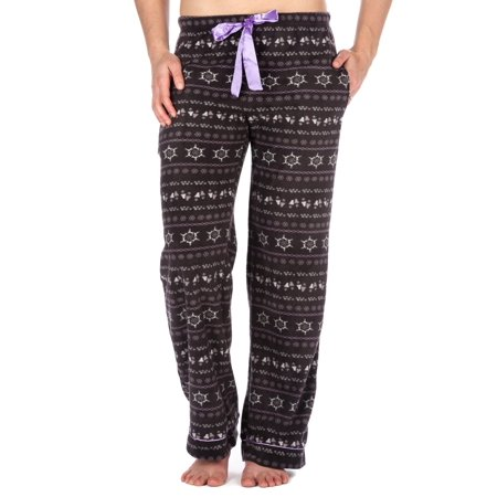 Heart Cord Pants - Womens Microfleece Lounge/Sleep Pants with Pockets