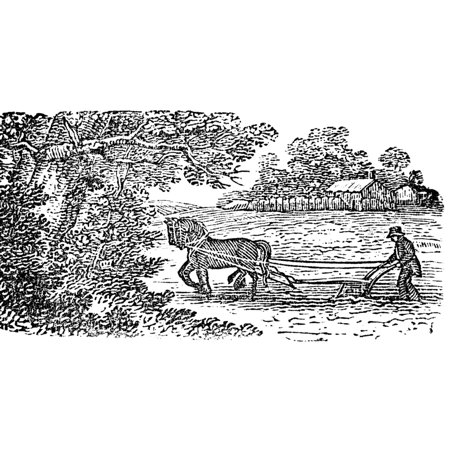 Ploughing 19Th Century Nwood Engraving From An Early 19Th Century Edition Of The Farmers Almanac Poster Print By Granger Collection