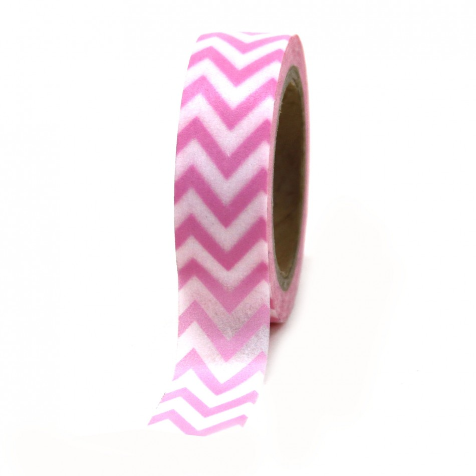 Dress My Cupcake Washi Paper Tape, Chevron, Pink
