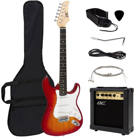Custom Flame Top Electric Guitar - Best Choice Products 39in Full Size Beginner Electric Guitar Starter Kit w/ Case, Strap, 10W Amp, Strings, Pick, Tremolo Bar - Sunburst