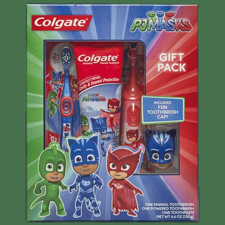 Colgate Kids Toothbrush, Toothpaste, Toothbrush Cap Gift Set - PJ Masks