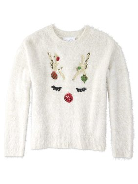 The Children's Place Girls 4-16 Christmas Deer Graphic Sweater