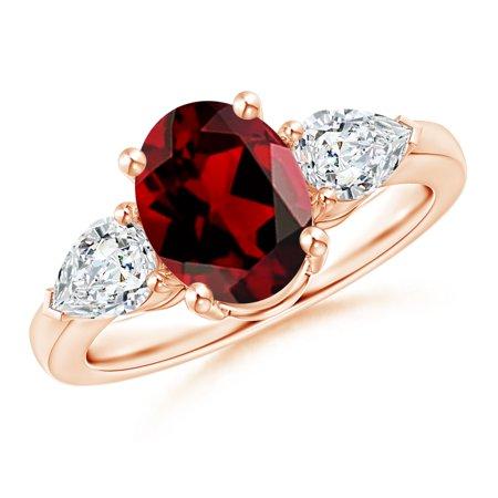 Valentine Jewelry Gift - Oval Garnet Three Stone Ring with Pear Diamonds in 14K Rose Gold (9x7mm Garnet) - -