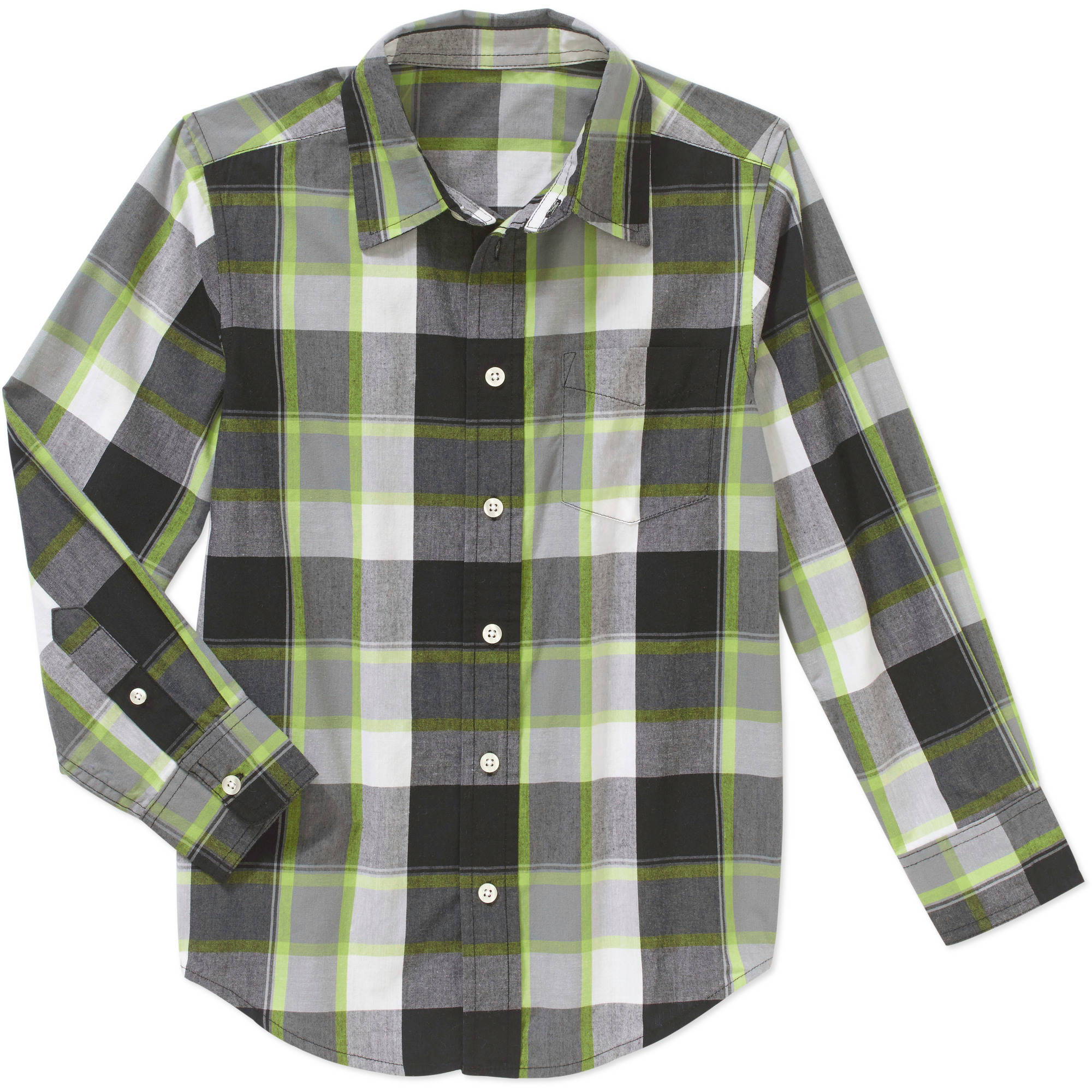 Wrangler Boys' Long Sleeve Plaid Poplin Woven Shirt
