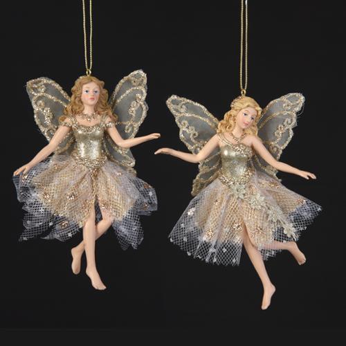 KSA Pack of 12 Winter's Blush Glittered Platinum Fairy Ch...