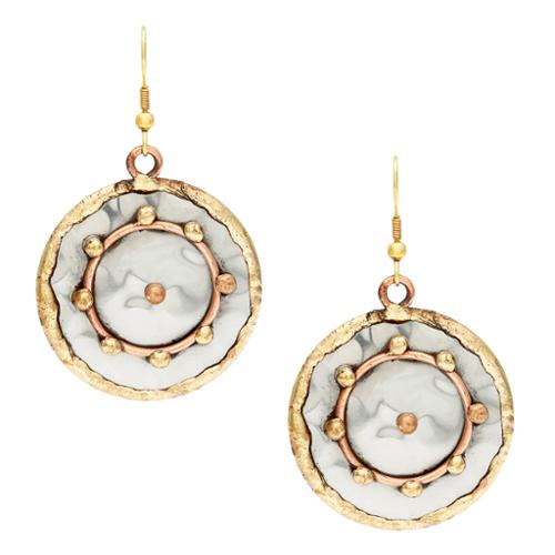 Anju Jewelry Handmade Copper Circle and Brass Dots Stainless Steel Earrings (India)