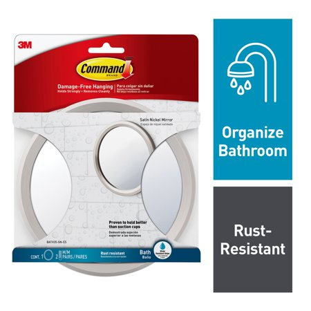 Command Bath Mirror, Satin Nickel, 1 Mirror, 2 Sets of Medium Water-Resistant Strips/Pack