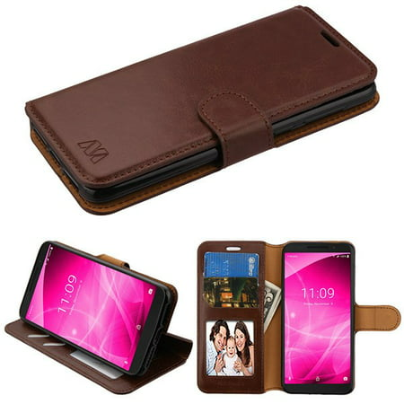 Alcatel Revvl 2, T-Mobile Revvl 2 - Phone Case Leather Flip Wallet Case  Cover Stand Pouch Book Magnetic Buckle with Credit Card Holder BROWN Phone