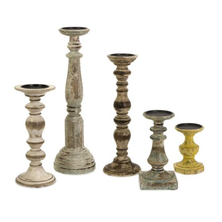 Set of 5 Rustic Finish Distressed Wood Pillar Candle Holders