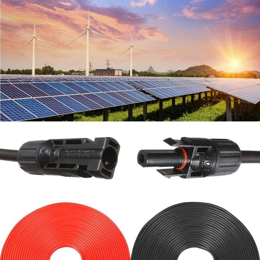 New MTN-G 1 Pair 50 ft MC4 Solar Panel Extension Connecto...
