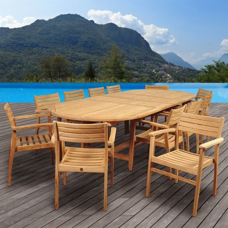 International Home Amazonia Teak 13 Piece Extendable Patio Dining Room Set by International Home Miami