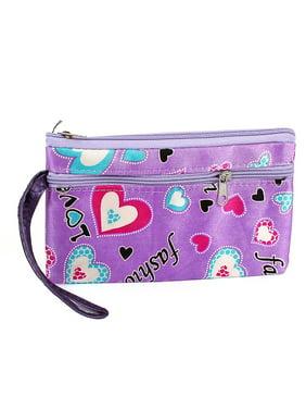 Women's Handbag Letters Pattern Double Zipper Closure Pouch Wallet Purple