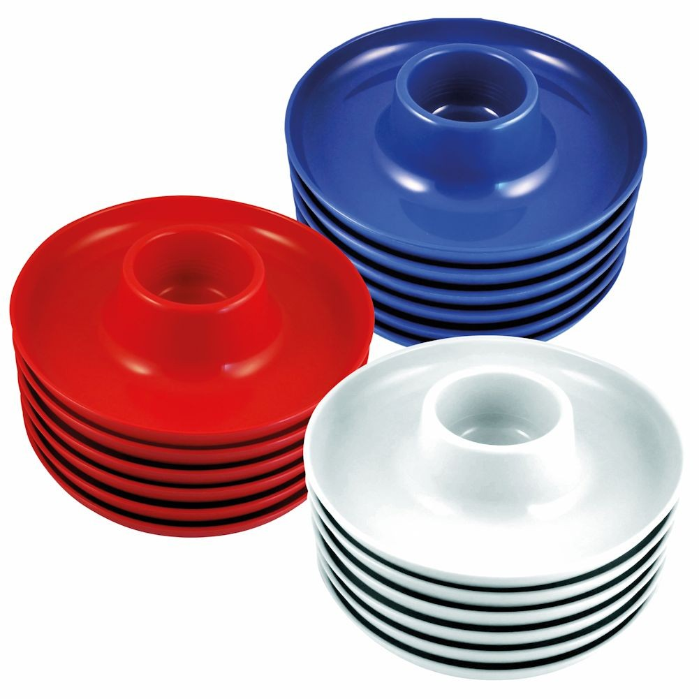 The Great Plate - Party Plate With Built In Cup Holder - Set Of 18 - 6/Red, 6/White, 6/Blue
