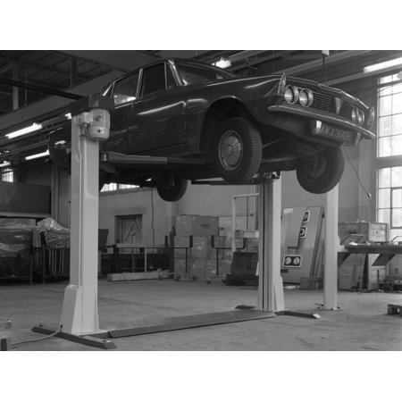 Rover P6 on a Laycock 4 Post Wheel Free Lift, Sheffield, South Yorkshire, 1968 Print Wall Art By Michael Walters