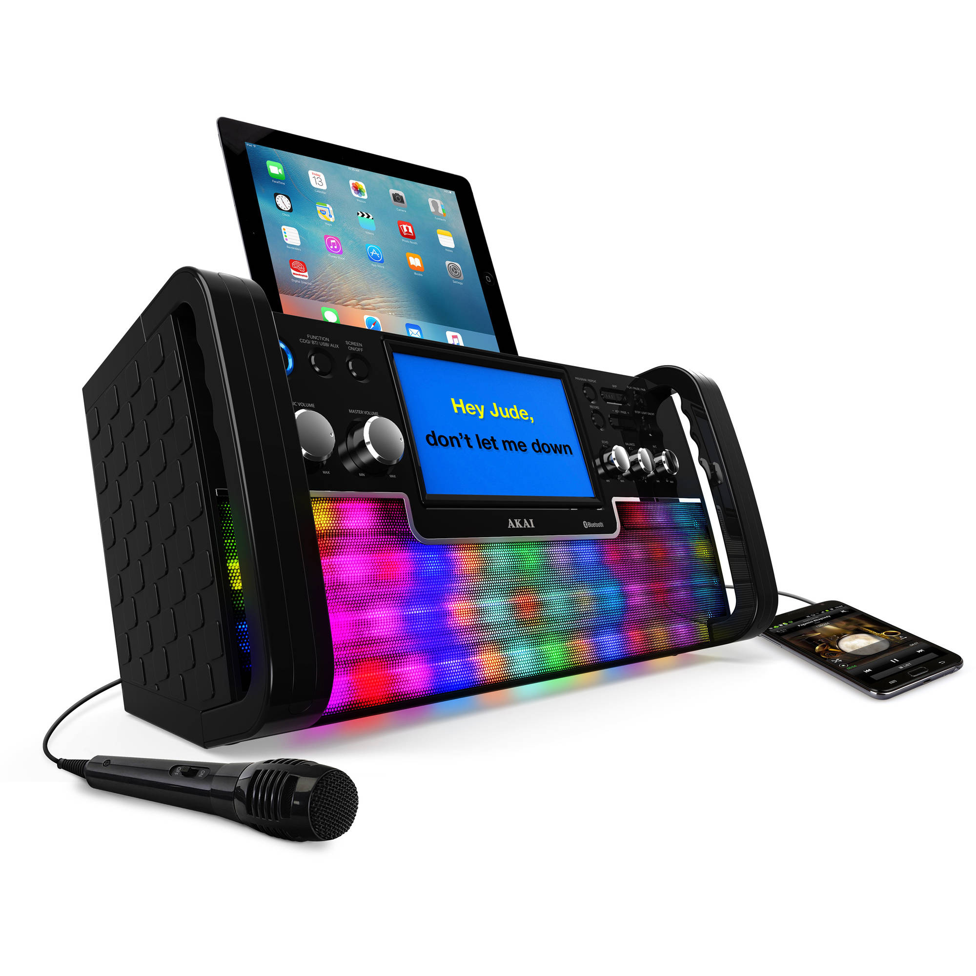 """Akai KS780-BT Bluetooth CD+G Karaoke System with USB Playback/Recording, 7"""" Color Display and Multi-Color Lighting Effect"""