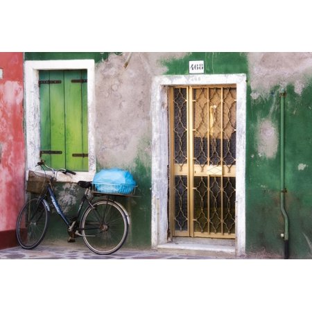 Italy, Venice. an Old Bicycle Leans Against a Weathered House on the Island of Burano Print Wall Art By Brenda
