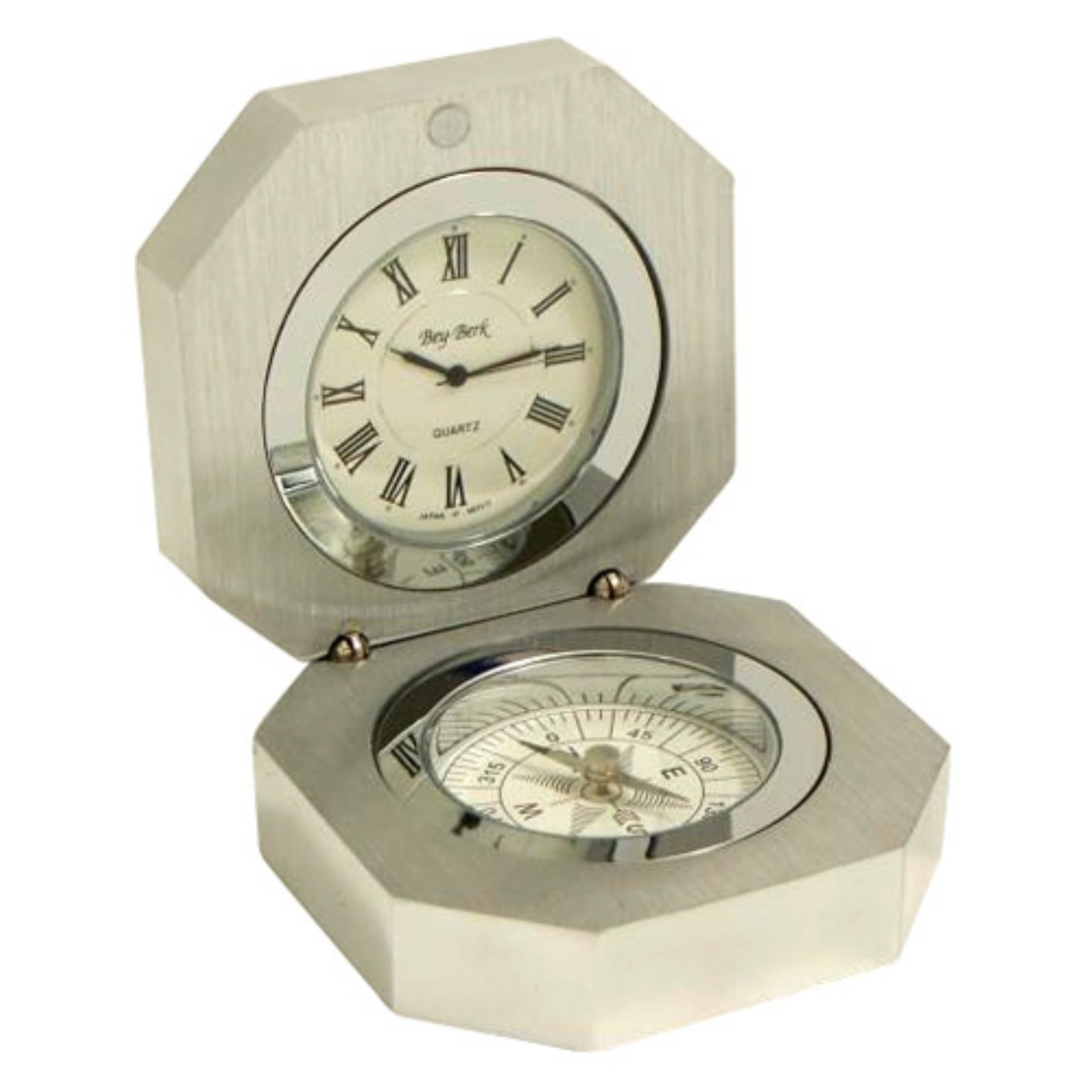 Bey-Berk International Compass Stainless Steel Desktop Clock