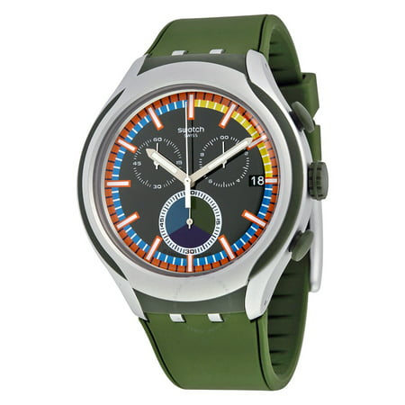 Moss Chronograph Black Dial Green Silicone Mens Watch -