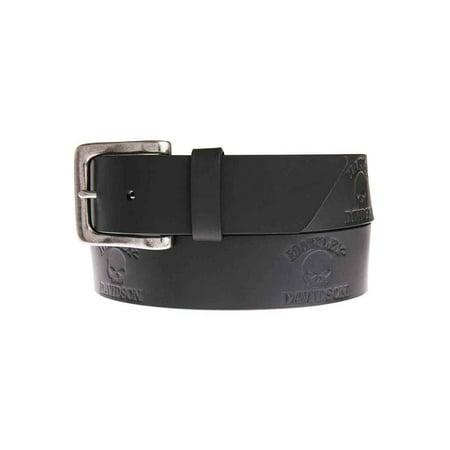 Men's Phantom Willie G Skull Belt, Black Leather HDMBT11040-BLK, Harley Davidson (Skull Belt)