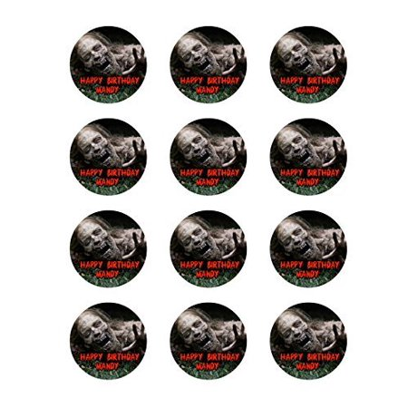 The Walking Dead 12 Cupcake Toppers TWD Zombie Edible Image Photo Cake Topper Sheet Personalized Custom Customized Birthday Party - 2.5 Inch (12 Toppers) - 76888 (Zombie Cupcake)