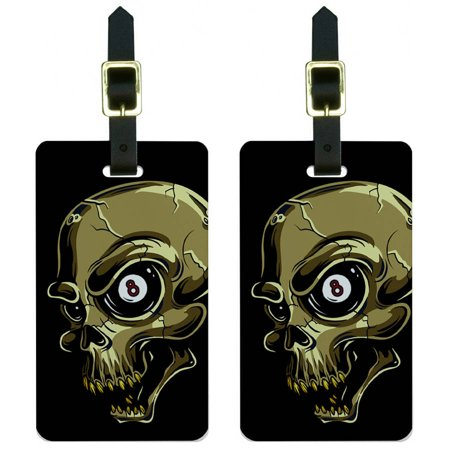 Eight Ball Skull Billards Pool Luggage Tags Suitcase Carry-On ID, Set of (Billard 2 Light)