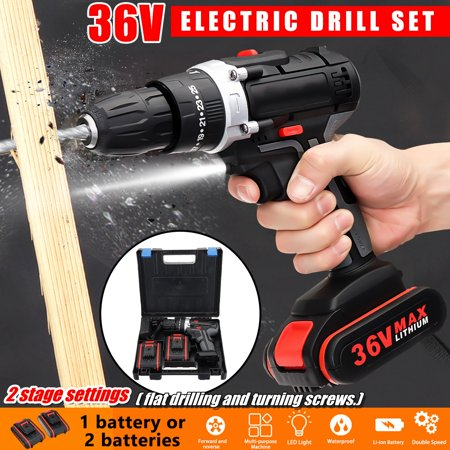 3 IN 1 Cordless Drill Hammer,36V Drill Driver Double Speed Adjustment LED Lighting 1 or 2 5000mAh Batteries with Battery charger for Impact Drilling/Flat Drilling /Turning (Cordless Drill Vs Impact Driver Vs Hammer Drill)