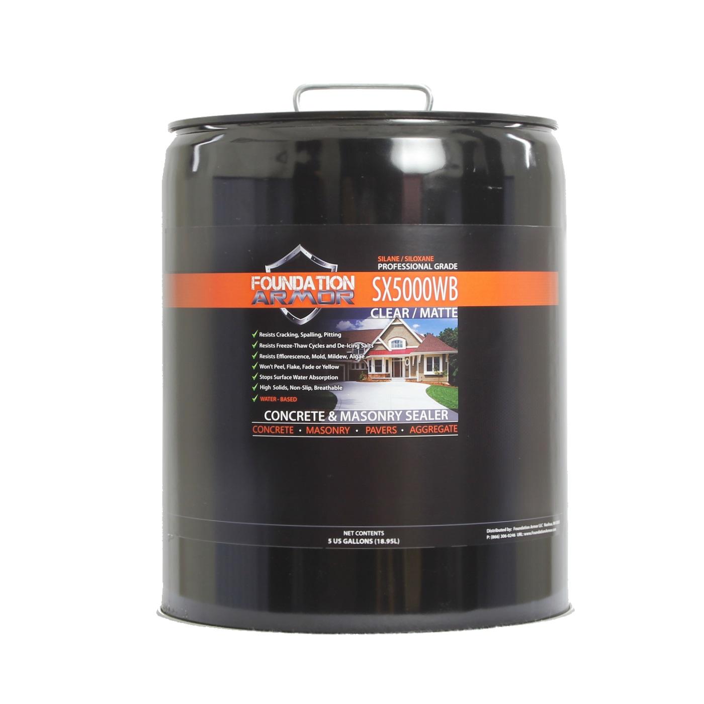 5 Gallon Armor SX5000 WB Silane Siloxane Penetrating Concrete Sealer and Masonry Water... by