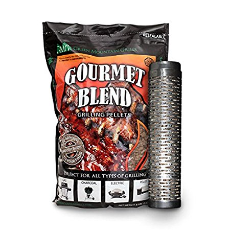Green Mountain Grill Thin Blue Smoker Tube w/ 8lb bag of Gourmet Blend Smoker Pellets