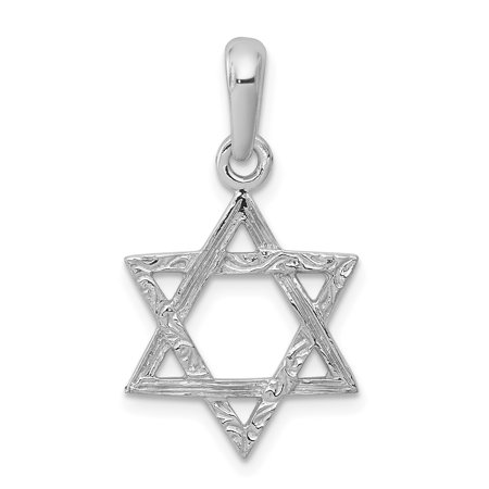 Love Star Of David Pendant - 14k White Gold Jewish Jewelry Star Of David Pendant Charm Necklace Religious Judaica For Women