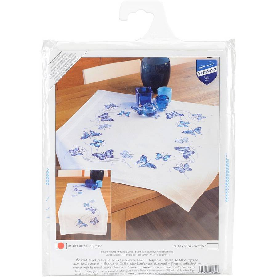"""Blue Butterflies Table Runner Stamped Embroidery Kit, 16"""" x 40"""""""