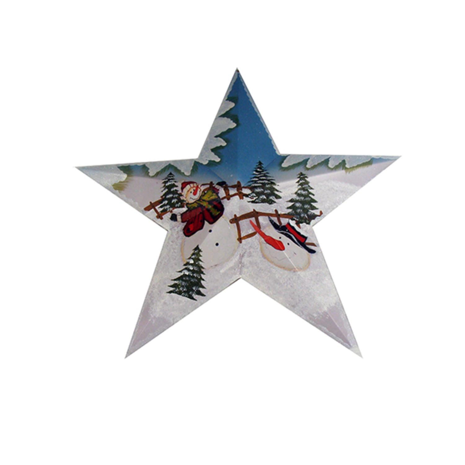 """22"""" Country Heritage Winter Snowman in Red Hat Christmas Star Wall Art Decor"""