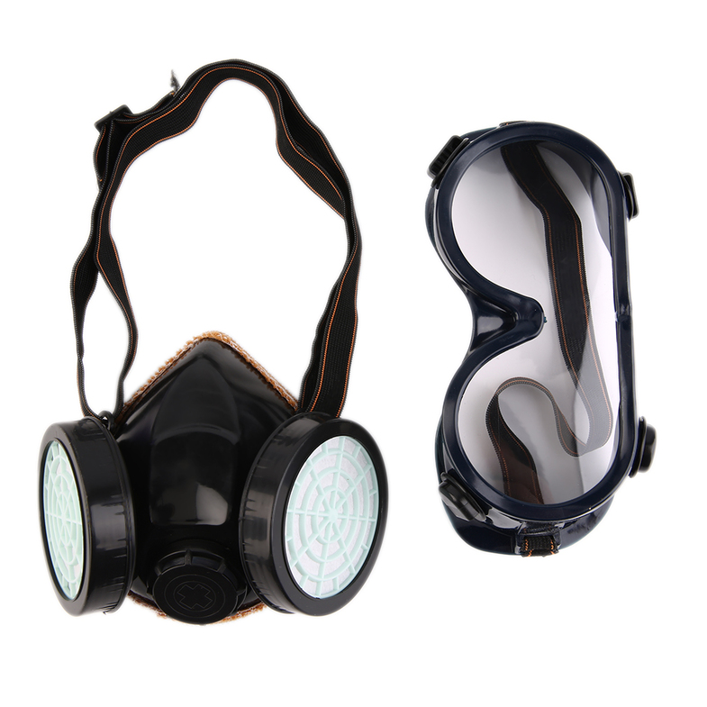 Protection Filter Double Gas Mask Chemical Gas Respirator Face Mask Goggles by