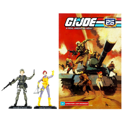 G.I. Joe 25th Anniversary Comic and Action Figures Pack, Scarlett and Hawk