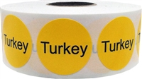 Yellow with black turkey circle dot adhesive stickers 1 inch round labels 500 total stickers
