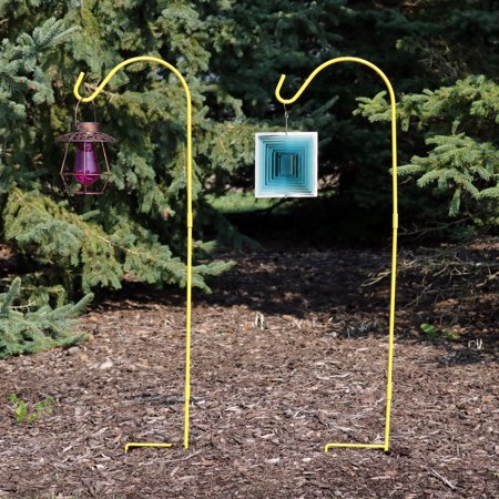 Sunnydaze Shepherd Hook, 48 Inch Tall, Heavy-Duty Single Hook, Set of 2, Yellow