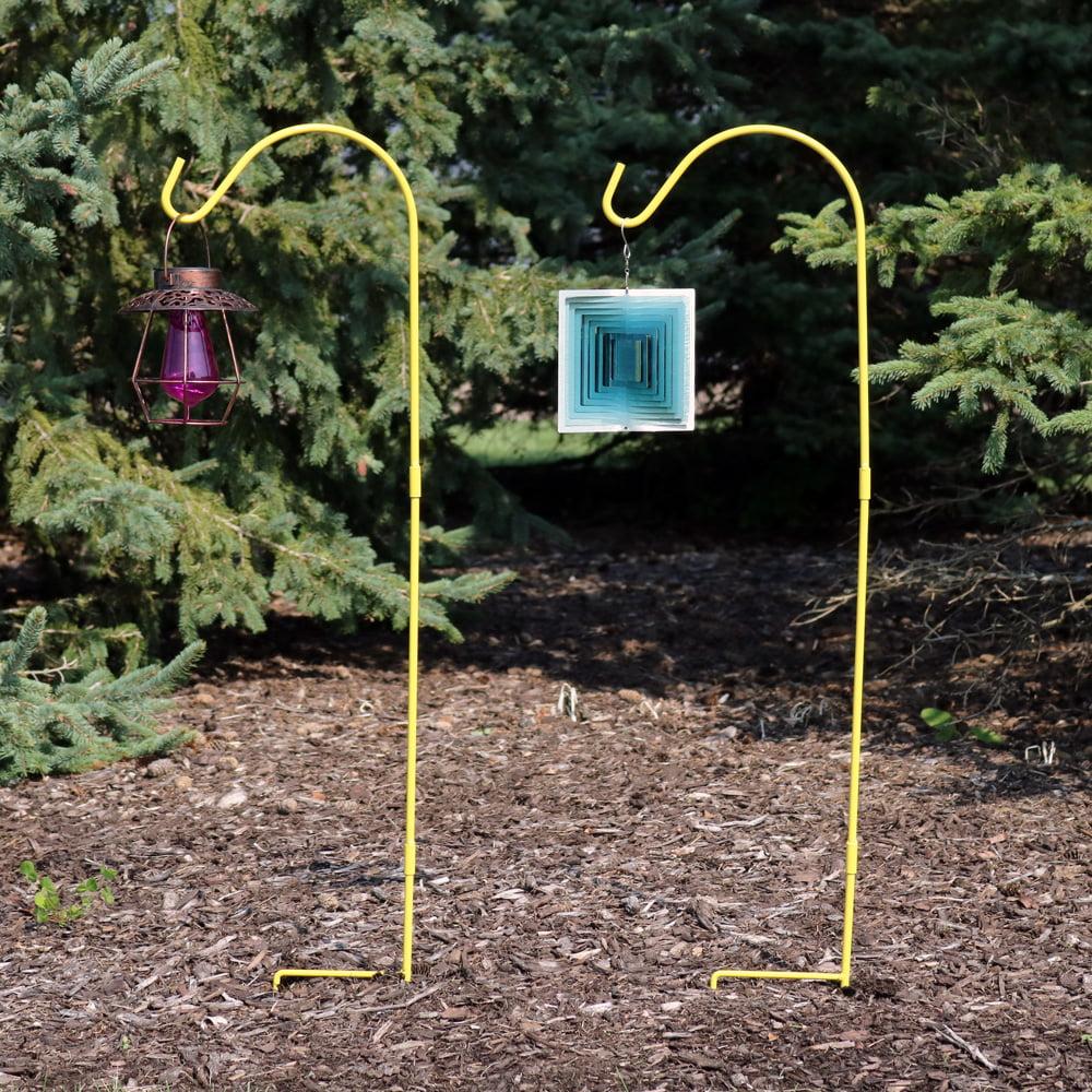 Sunnydaze Shepherd Hook, 48 Inch Tall, Heavy-Duty Single Hook, Set of 2, Yellow