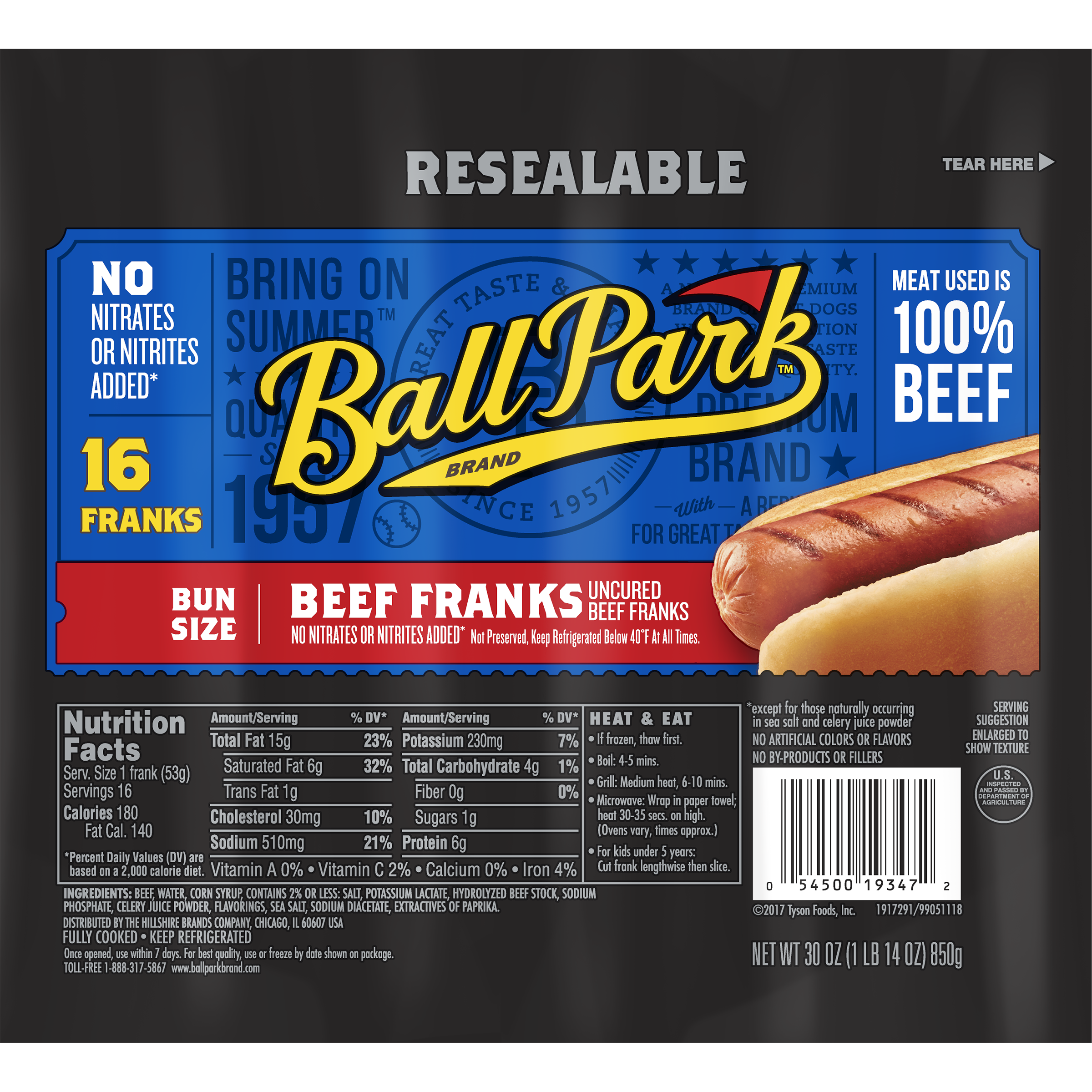 Ball Park® Beef Franks, Bun Size Length, 16 Count