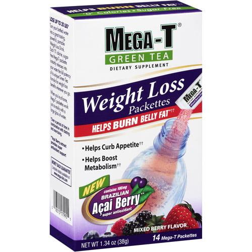 Mega-T Green Tea Weight Loss Mixed Berry Dietary Supplement, 14ct