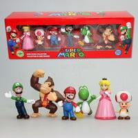 6pc Super Mario Bros Peach Toad Mario Luigi Yoshi Donkey Kong Action Figure Toys