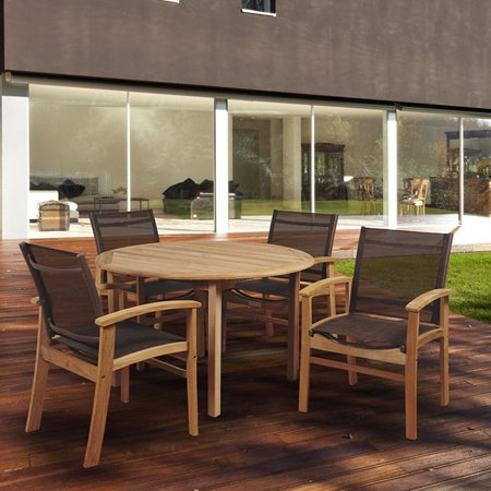 Amazonia Teak  Luna 5-piece Teak Round Patio Dining Set with Brown Textile (Fabric Sling Patio Furniture)