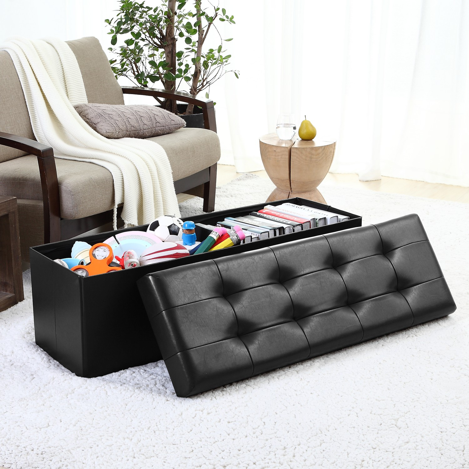 "Ornavo Foldable Tufted Faux Leather Large Storage Ottoman Bench Foot Rest Stool/Seat - 15"" x 45"" x 15""- Black"