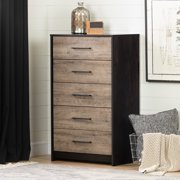 South Shore Londen 5-Drawer Chest, Weathered Oak and Rubbed Black
