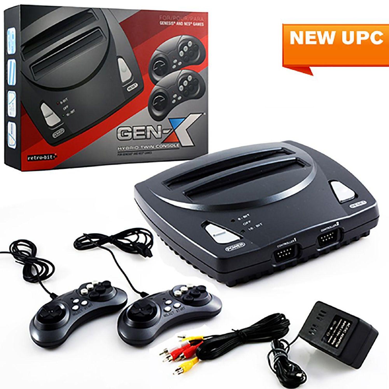 Retro-Bit 2 In 1 8-bit And 16-Bit Controllers AC Adapter And AV Cables For Sega Genesis cartridges