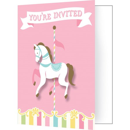 Pack Of 48 Multicolored Carousel Horse Youre Invited Party Invitations 75
