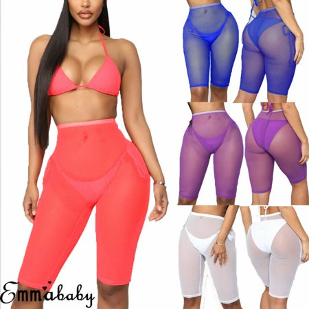 Womens Sexy Mesh Sheer Short Trousers Bikini Cover Up Beach Transparent Pants S-XL